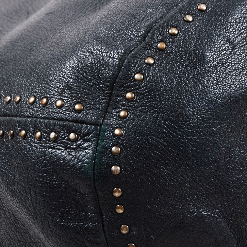 DesignerShare Prada Black Leather Gold Tone Stud Drawstring Strap Sack Bag - Detail