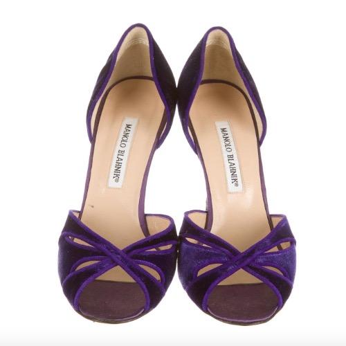 DesignerShare Manolo Blahnik Purple Velvet D'Orsay Pumps - Front