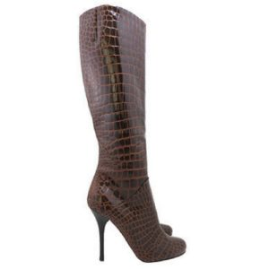 DesignerShare Giuseppe Zanotti Cognac Crocodile Knee-High Boots - Side