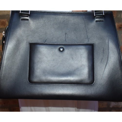 DesignerShare Céline Black and Blue Calfskin Leather and Pony Hair Medium Edge Shoulder Bag - Front
