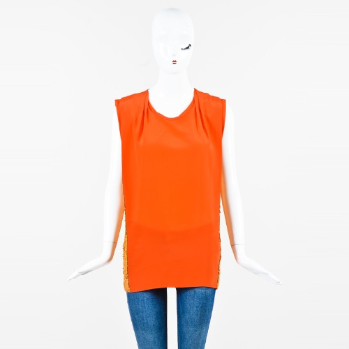 "3.1 Phillip Lim ""Papaya"" Orange Silk Sequined Draped Sleeveless Top"