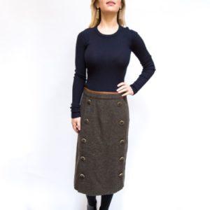 DesignerShare Tory Burch Navy Tweed Merino Wool Sweater Dress - Front