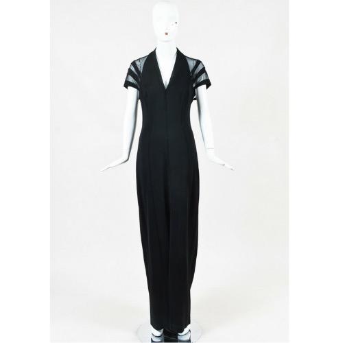 DesignerShare Tadashi Black Mesh Inset Open Back Cap Sleeve V Neck Sheath Gown - Front