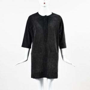 DesignerShare Isabel Etoile Navy Suede 3 Quarter Sleeve Dress - Front