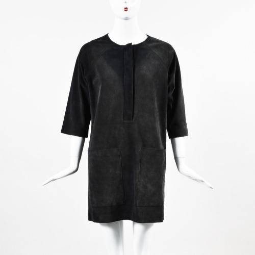 DesignerShare Isabel Etoile Navy Suede 3 Quarter Sleeve Dress - Front