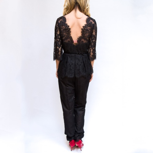 Marchesa Notte Belted Lace Jumpsuit Back