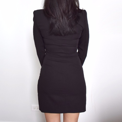 DesignerShare Black Halo Lizzy Asymmetrical Zip Dress - Back