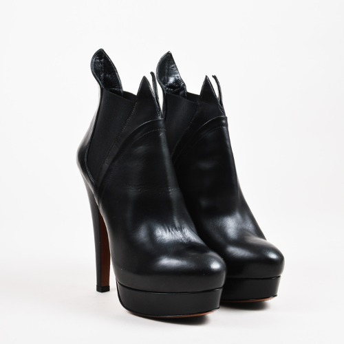 "DesignerShare Alaia Black Leather Elastic Panel High Heel Platform ""Flame"" Ankle Boots - Front"