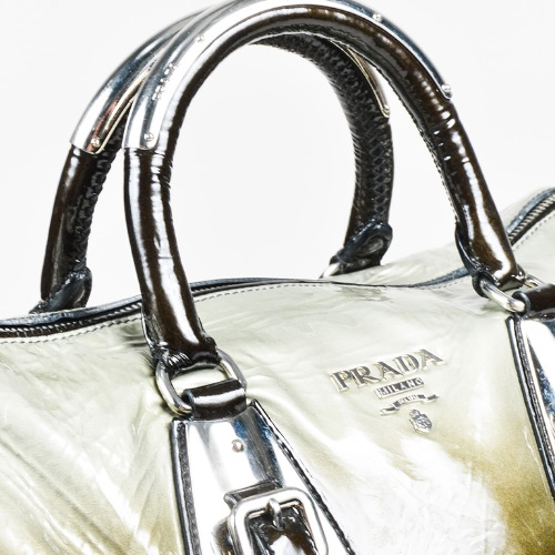 DesignerShare Prada Black Green Silver Patent Leather Ombré Satchel Handbag - Detail