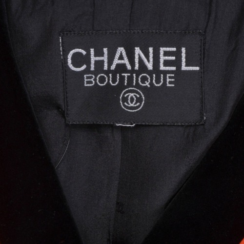 Vintage Chanel Black & Orange Satin Panel & Knit Skirt Suit Tag