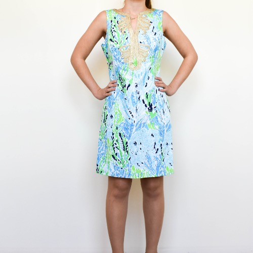 DesignerShare Lilly Pulitzer Janice Shift Dress Spa Blue Let's Cha Cha - Front