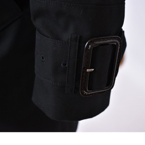 Burberry Short Black Trench Coat Wrist Detail