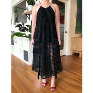Elliatt Bohéme Black Midi Mesh Cut Dress