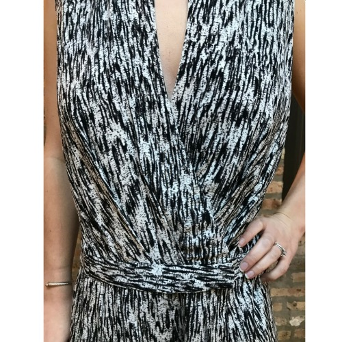 Halston Heritage Black And White Ikat Print Romper Front
