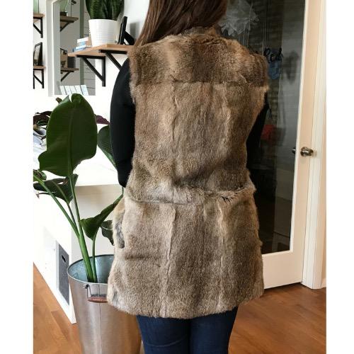 Jenni Kayne Genuine Rabbit Fur Collarless Vest Back