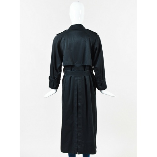 Burberry Vintage Burberry Black Cotton Wool Lined Belted Trench Coat Back