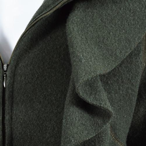 Valentino Dark Green Felted Wool Ruffle Trim Long Sleeve Jacket Detail