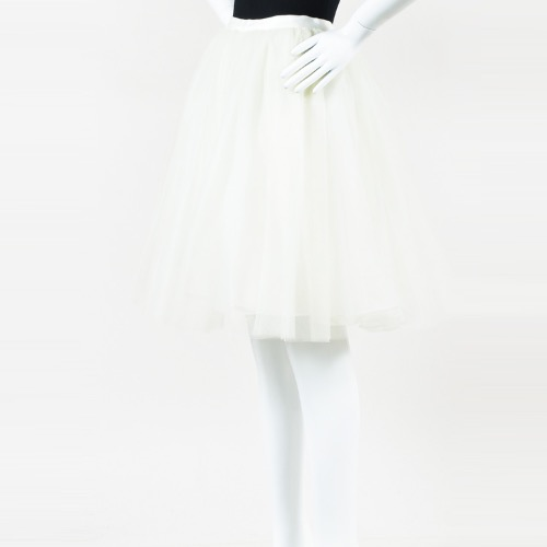 Alice + Olivia White Tulle Full Skirt Front