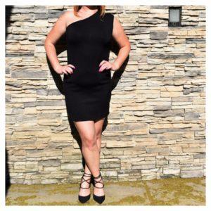 Ralph Lauren Black Label Black One Shoulder Dress