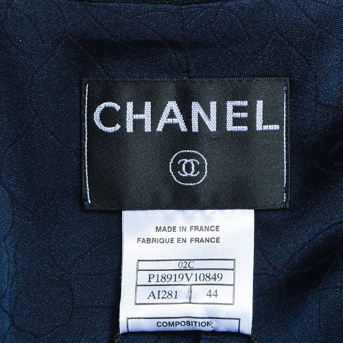 Chanel Cruise 2000 Navy Blue Crepe Crystal Button Jacket Tag