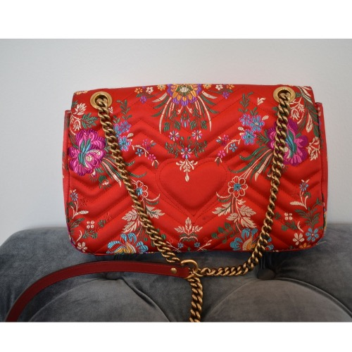 DesignerShare Gucci Red Floral Marmont Bag - Front