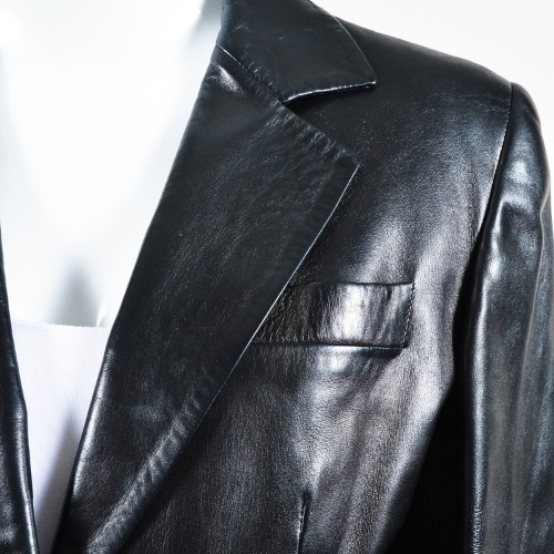 Gucci Black Leather Tailored Two Button Long Sleeve Jacket Blazer Collar