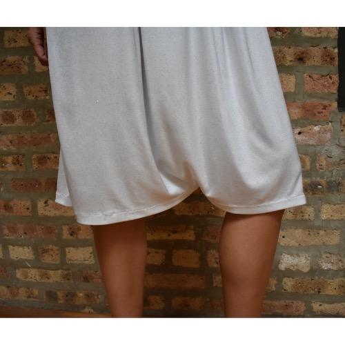 Inbal Gvili White Shimmery Jumpsuit Bottom Close Up