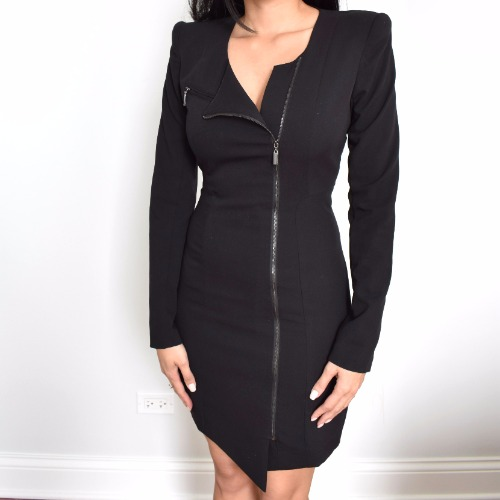 Black Halo Lizzy Asymmetrical Zip Dress