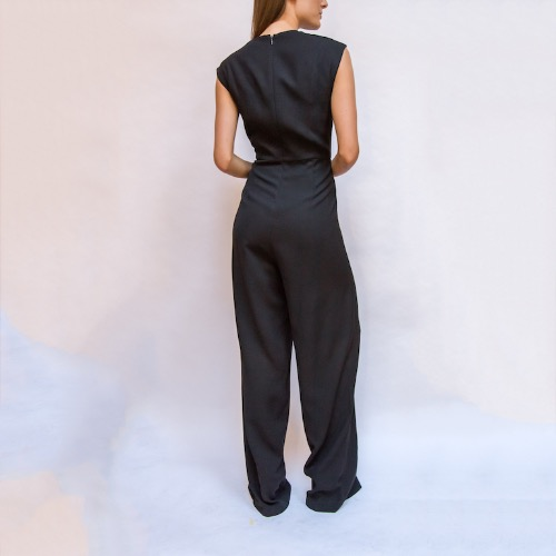 Halston Heritage Black Cutout Vest Turnlock Flowy Jumpsuit Back