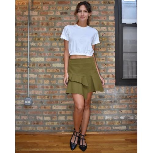 Derek Lam 10 Crosby Asymmetrical Ruffle Mini Skirt