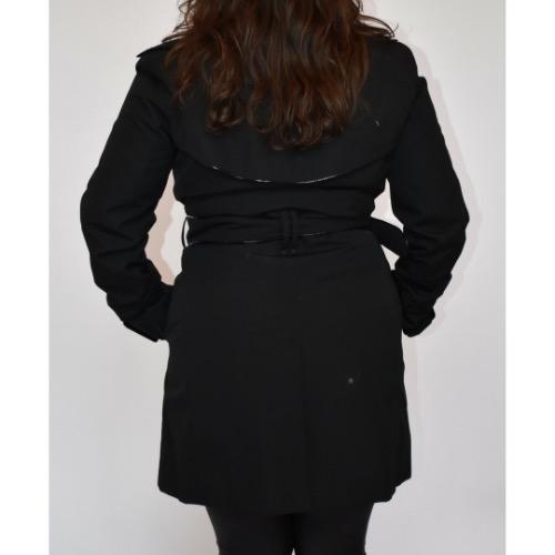 Burberry Short Black Trench Coat Back