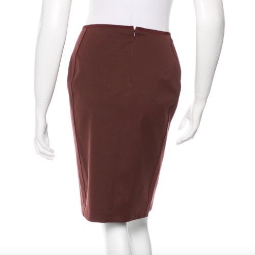 Reed Krakoff Oxblood Structured Pencil Skirt Back