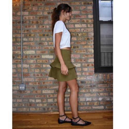 Derek Lam 10 Crosby Asymmetrical Ruffle Mini Skirt Side