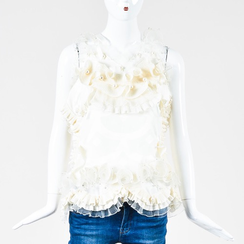Marc Jacobs Cream Satin Printed Ruffle Faux Pearl Ribbon Tie Sleeveless Top Front