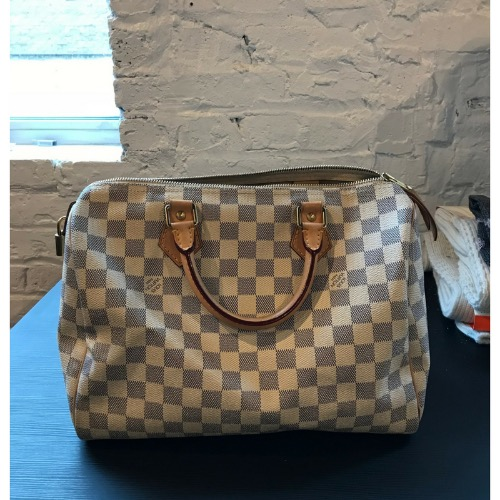 852239bb02be DesignerShare Louis Vuitton Damier Azur Speedy Bandouliere 30 Tote - Front