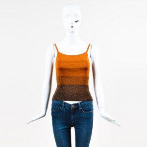 Moschino Jeans Orange Brown Knit Metallic Sleeveless Top