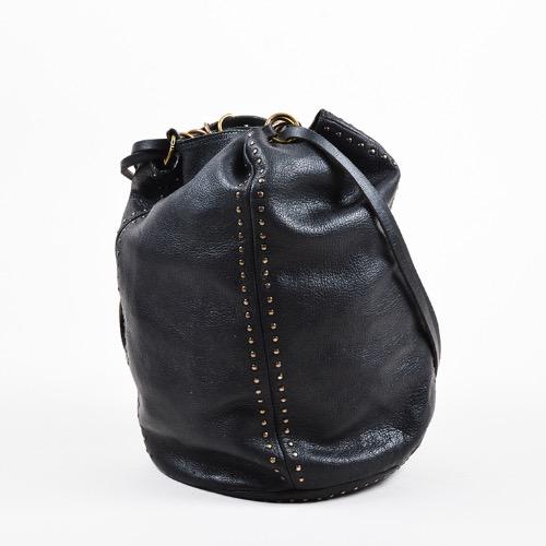 DesignerShare Prada Black Leather Gold Tone Stud Drawstring Sack Bag – Side