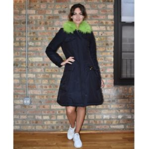 Moschino Cheap And Chic Puffer Coat With Lime Green Fur Collar