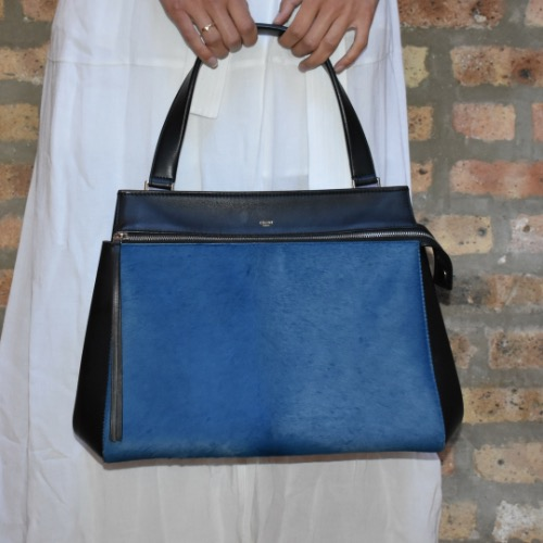 DesignerShare Céline Black and Blue Calfskin Leather and Pony Hair Medium Edge Shoulder Bag - Model