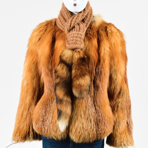 Valentine Furs Red Fox Knit Scarf and Coat Front
