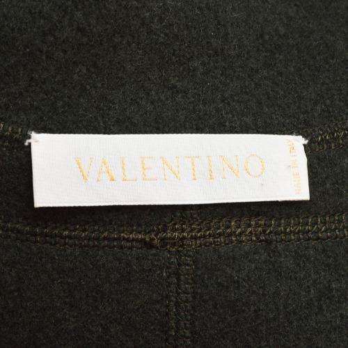 Valentino Dark Green Felted Wool Ruffle Trim Long Sleeve Jacket Tag