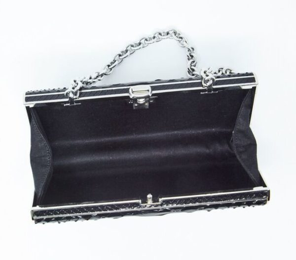 DesignerShare Miu Miu Black Python Box Clutch - Inside
