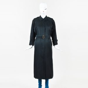 Burberry Vintage Burberry Black Cotton Wool Lined Belted Trench Coat