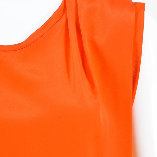 "3.1 Phillip Lim ""Papaya"" Orange Silk Sequined Draped Sleeveless Top Detailing"