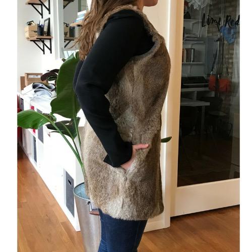 Jenni Kayne Genuine Rabbit Fur Collarless Vest Side