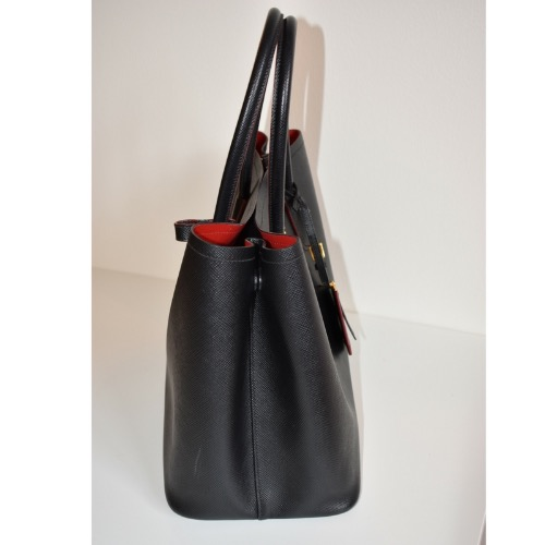 DesignerShare Prada Saffiano Cuir Double Medium Tote Bag - Side