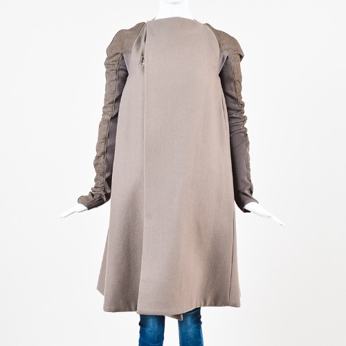 Rick Owens Taupe Wool Leather Knit Sleeve Asymmetric Long Coat Back