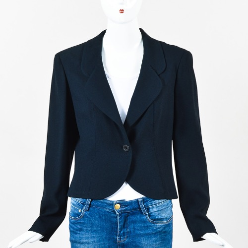 Chanel Cruise 2000 Navy Blue Crepe Crystal Button Jacket Front