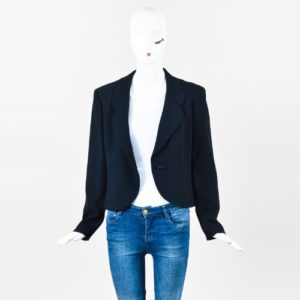 Chanel Cruise 2000 Navy Blue Crepe Crystal Button Jacket