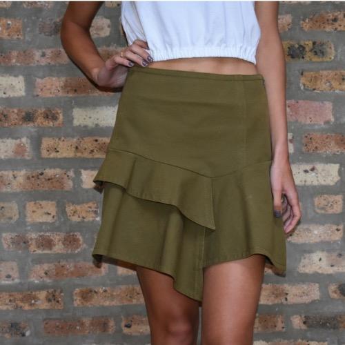 Derek Lam 10 Crosby Asymmetrical Ruffle Mini Skirt Close Up